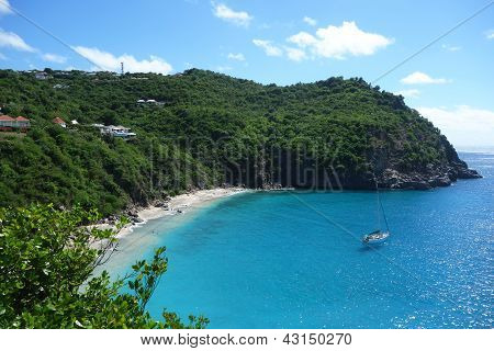 Areal view at Shell beach, St. Barths, French West indies