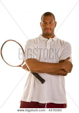 Black Man Arms Crossed With Tennis Racket
