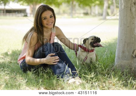 Spending some time with her dog