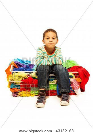 Cute Boy With Basket Of Clothes