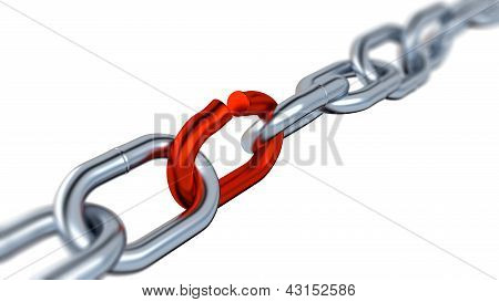 Blurred Metallic Chain With One Red Link