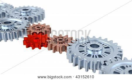 Blurred Silver Gears With One Red