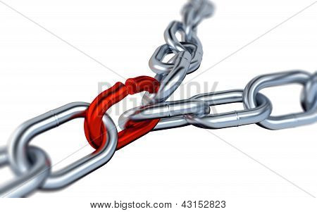 Two Blurred Metallic Chains With One Red Link