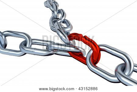 Two Metallic Chains With One Red Link