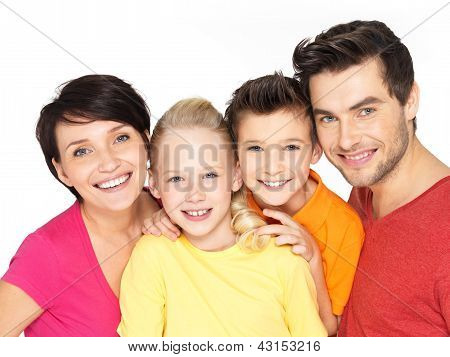 Happy Family With Two Children On White