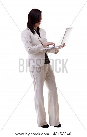 Beautiful Caucasian Businesswoman With A Laptop In Her Hands Isoalted Over White Full Body