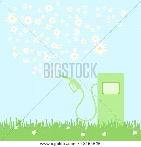 Green Gas Pump On A Green Field With Camomiles, Vector Illustration