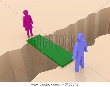 Man and woman split on sides bridge through separation crack.