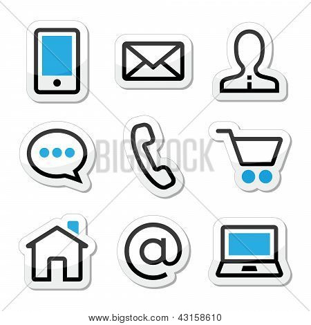 Contact web vector stroke icons set