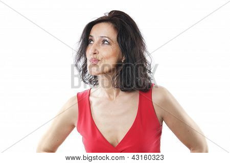 woman in her forties pouting