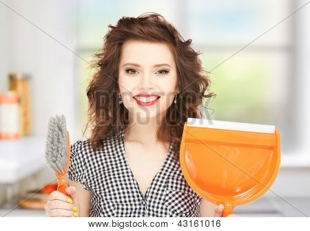 picture of beautiful woman with brush and pan