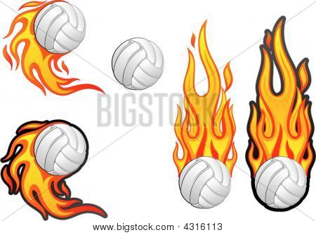 Volleyball With Fire