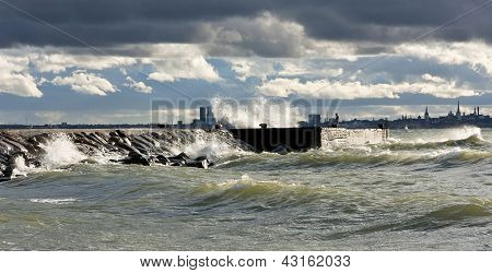 Quay In Stormy Sea