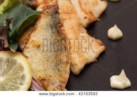 Fried Perch Filets With Lemon And Salad