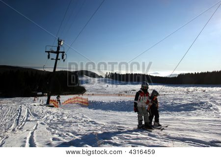 Cable Lift With Two Skiers