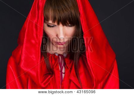 beautiful woman in a red robe