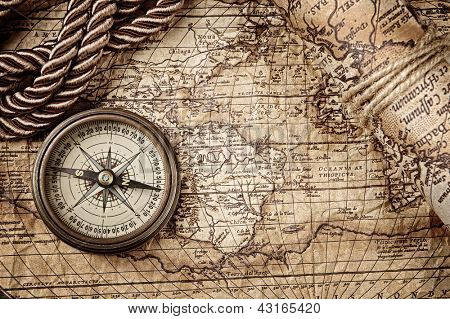vintage  still life with compass and old map