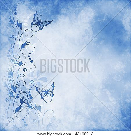 Blue vintage butterfly background