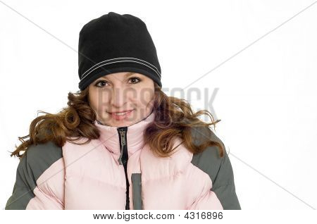 Pretty Redhead Woman Model Wearing Pink Winter Down Ski Coat