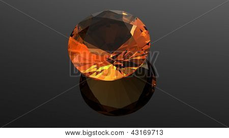 Citrine. Jewelry gems roung shape on black background