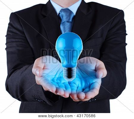 Businessman Hand Showing Blue Light Bulb