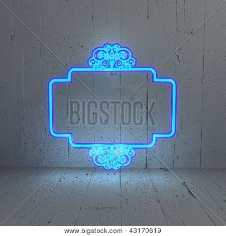Illuminated Curlicue label in a simple background