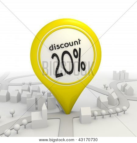 20 percentage discount icon inside a yellow map pointer