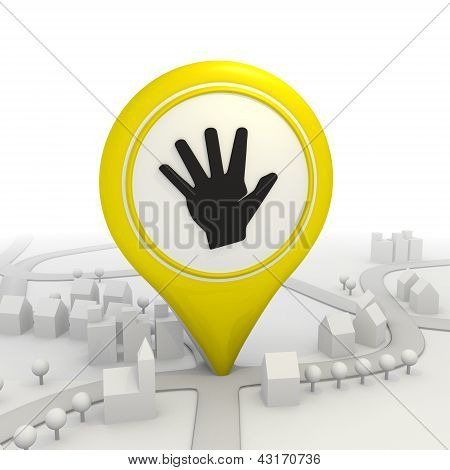 Symbolic hand icon  inside a yellow map pointer