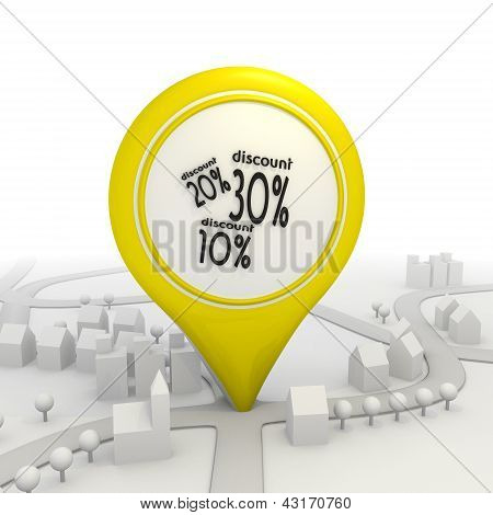 Discount icons inside a yellow map pointer