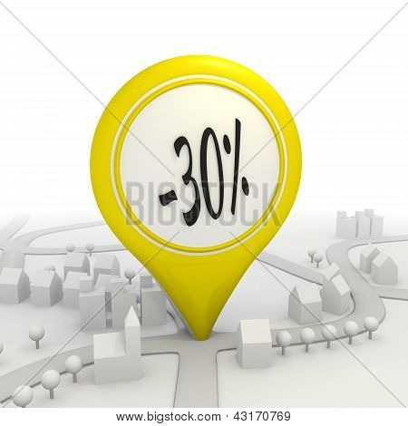 30  percentage discount icon inside a yellow map pointer