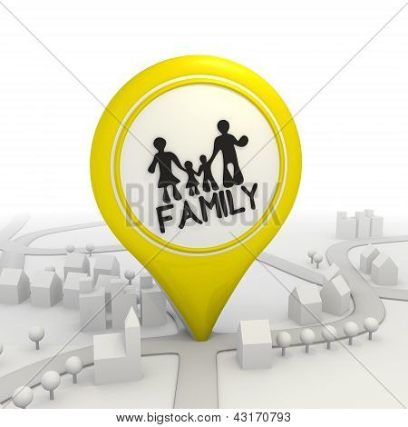 Symbolic family icon inside a yellow map pointer