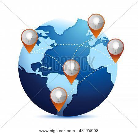 Electric Light Bulb Idea Location On A World Globe