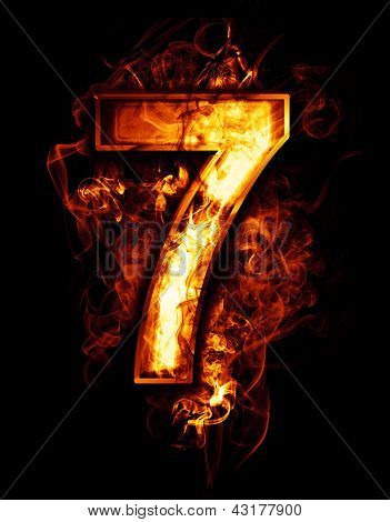 seven, illustration of  number with chrome effects and red fire on black background