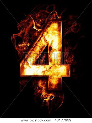 four, illustration of  number with chrome effects and red fire on black background