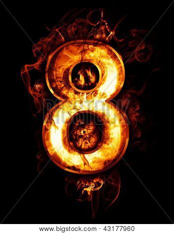 eight, illustration of  number with chrome effects and red fire on black background