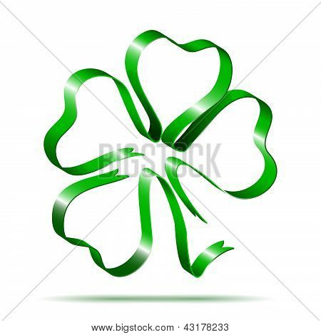Four leaf clover shape from ribbon