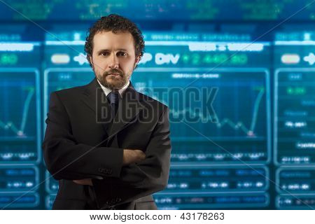 businessman with beard and black suit in the stockmarket, money