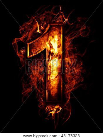 one, illustration of  number with chrome effects and red fire on black background