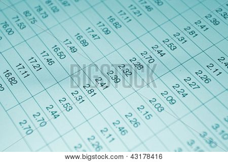 Numbers In Table