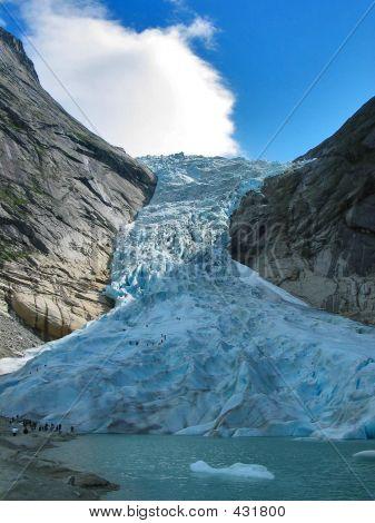 View Of The Briksdal Glacier