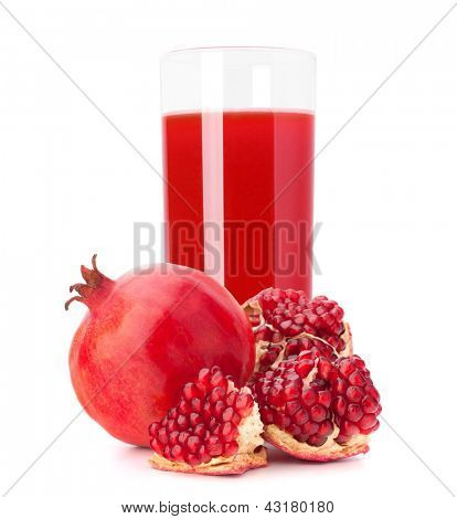 Pomegranate fruit juice in glass isolated on white background cutout