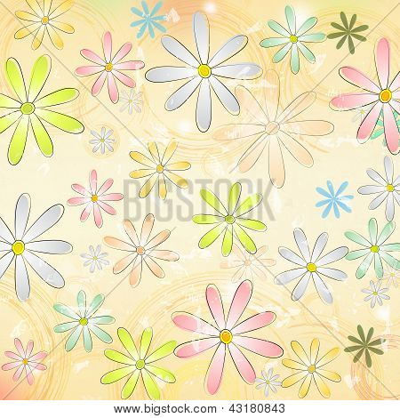 Spring Daisy Flowers Over Beige Old Paper Background With Circles