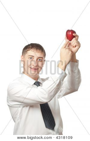 Businessman Showing Apple