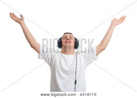 Young Man Enjoying The Music