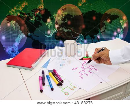 working business table and graph background