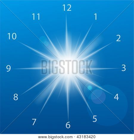 Vector illustration of clock sun on a blue background.