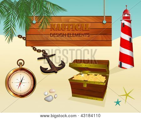 Set of Realistic Nautical Design Elements, including a wood message board, lighthouse, treasure chest, compass and old rusty anchor