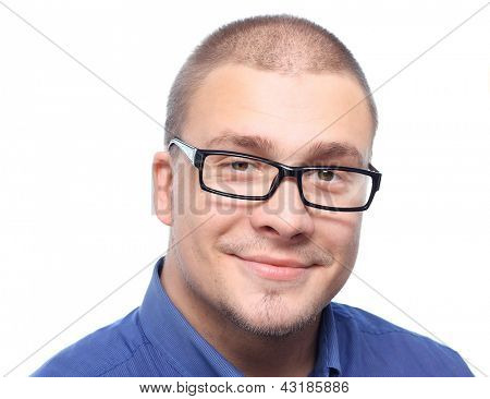 Young  attractive man  smiling in black eyeglasses  isolated on white background.