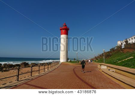 Durban Boardwalk Along Indian Ocean And Umhlanga Lighthouse In Umhlanga Rocks,south Africa