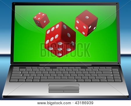 Laptop with dice
